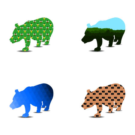 Bear silhouette pattern. A set of four pieces can be used as a logo thumbnail. Vector illustration