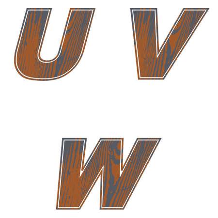 U, V, W, Letters of brown color. Design of old wood Vector illustration
