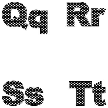 Four letters Q, R, S, T. Large and small. A simple black design. Vector illustration Ilustração