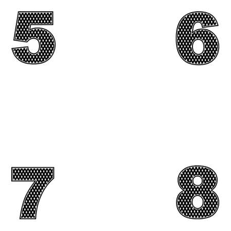 Four digits 5, 6, 7 8 Simple design of black Vector illustration Ilustração