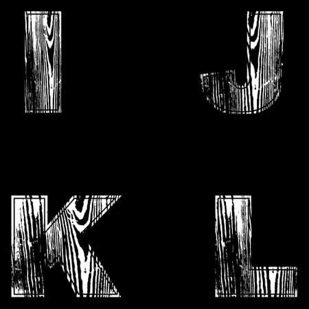 I, J, K, L Letters White on a black background. Wood Design. Vector illustration