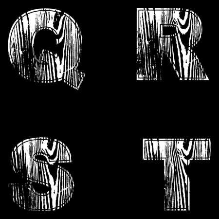 Q, R, S, T, Letters White on a black background. Wood Design Vector illustration