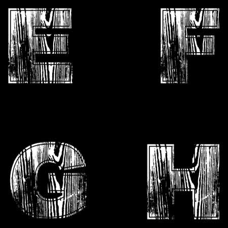 E, F, G, H Letters White on a black background. Wood Design. Vector illustration