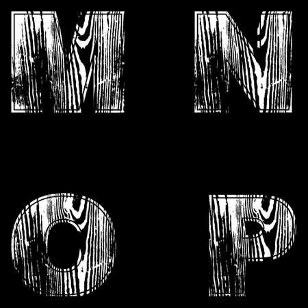 M, N, O, P, Letters White on a black background. Wood Design Vector illustration