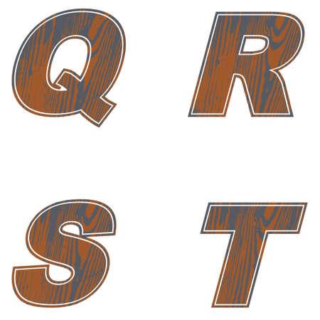 Q, R, S, T, Letters of brown color. Design of old wood Vector illustration Ilustração