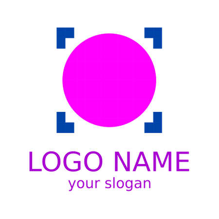 Simple logo. The circle of pink color is made up of squares. Template