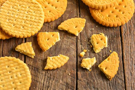 Cookies crackers on wood background