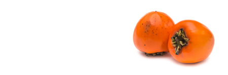Persimmon fruit on white background