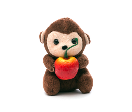 Childrens soft toy monkey with apple