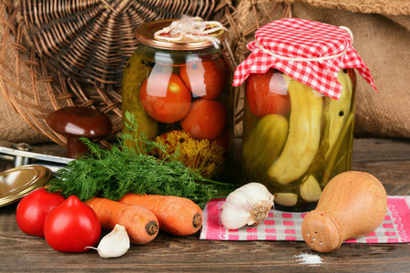 Home canning, canned vegetables Stock Photo