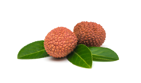 Lychees fruits on white background