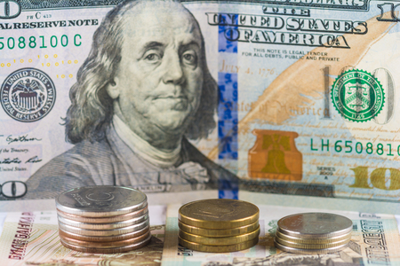 devaluation: Russian currency devaluation Stock Photo