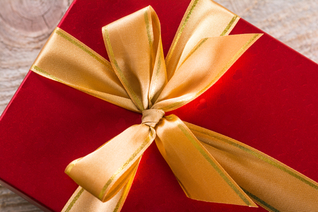 expensive: Gift box with satin ribbon Stock Photo