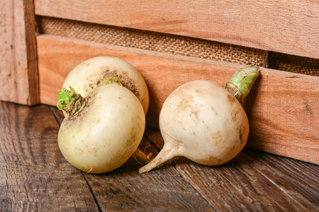 Fresh white radish on a rustic wooden table, no GMO