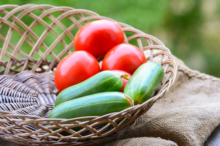 Vegetables, cucumbers and tomatoes
