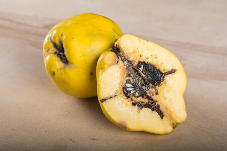 Sliced quince on wooden table Banco de Imagens