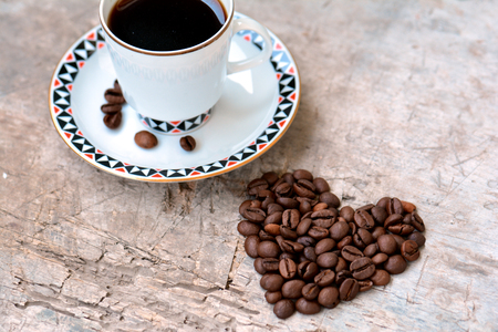 Coffee beans in a heart shape Stock Photo