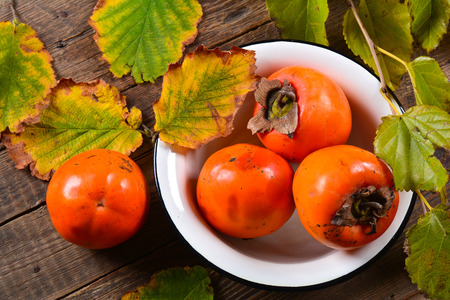 Juicy tropical persimmon fruits