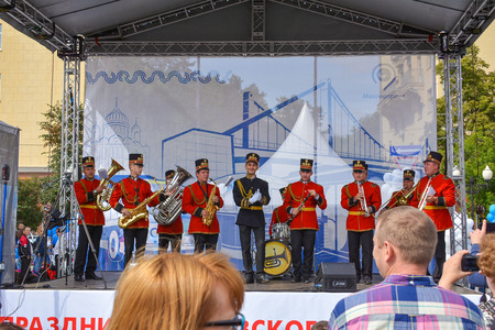 Russia, Moscow, May 17, 2017. Musicians at the car show Editorial