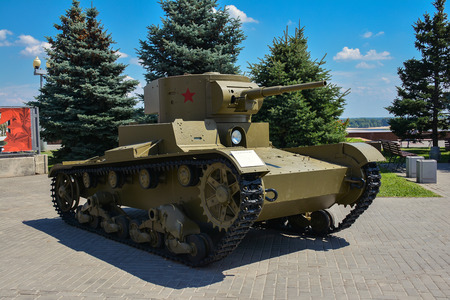 Russia, Volgograd, May 12, 2018 Exhibition of military equipment from the Second World War