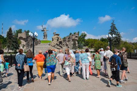 Russia, Volgograd, May 17, 2018. Tourists on memorial complex Mamayev Kurgan Editorial