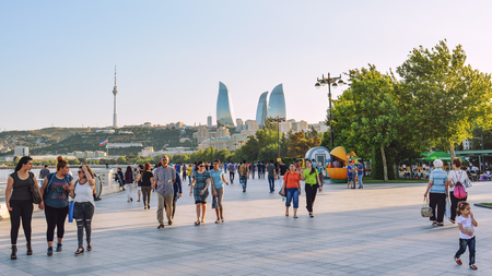 Baku, Azerbaijan, July 03, 2018. Tourists walking on city streets Editorial