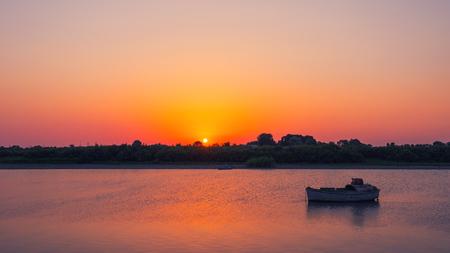 Amazing beautiful sunset on the river Archivio Fotografico