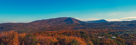 Autumn panorama. View of the yellow mountain forest and the village