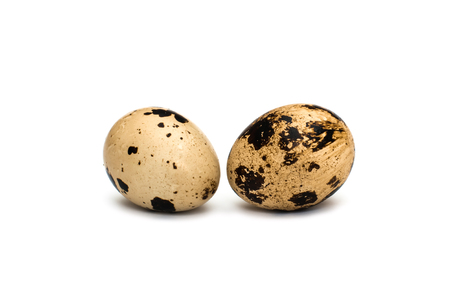 Quail eggs on white background Stock Photo