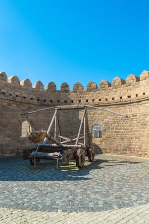 Ancient gun in the historic center of Icheri Sheher, Baku city, Azerbaijan
