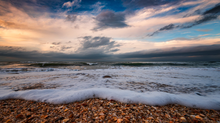 Seashore, stormy sea Stock Photo