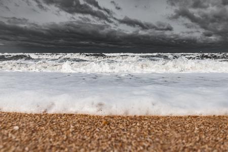 Stormy foamy sea, big waves