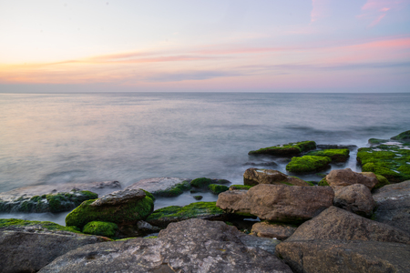 Colorful sea shore with green algae with long exposure water at sunset time