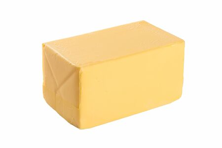 A piece of butter on a white background