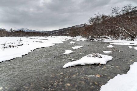 Fast mountain river stream in winter season