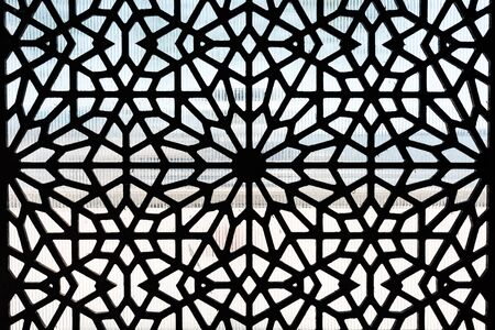 Metal protective grille for windows. Patterned window lattice grid Foto de archivo