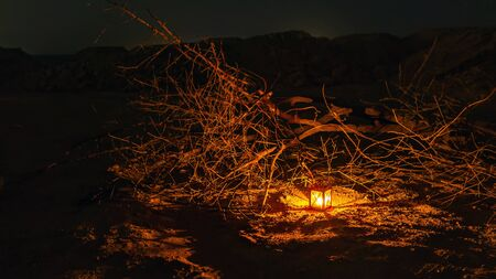 Old metal lantern in the night