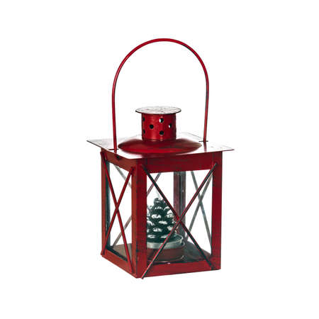 Old portable lantern with a candle isolated on white 版權商用圖片