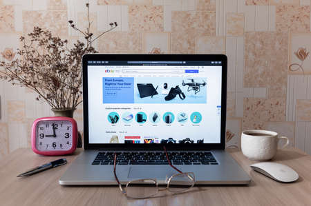 Estonia, Tallinn, July 15, 2020. Search for goods on Ebay site with Apple Macbook Pro