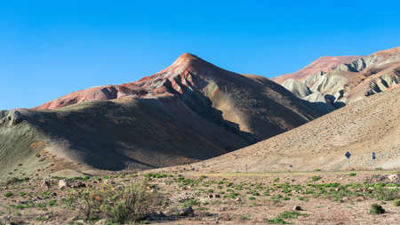 View of the beautiful striped red mountain