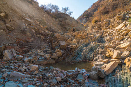 Dry bed of a mountain river