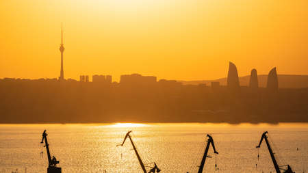 Baku city in a haze Standard-Bild