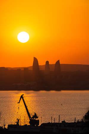 Sunset on the Baku city Standard-Bild