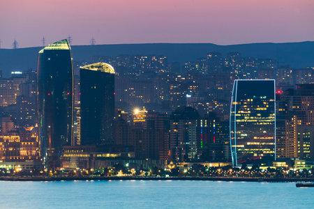 Night Baku city landscape