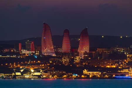 Baku city in the evening lights