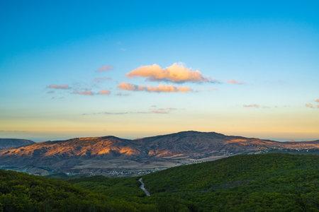 Sunset rays on the mountain