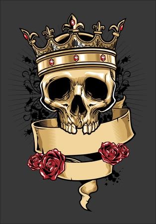 skull and flowers: vector cr�neo con una corona