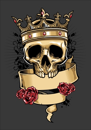 vector skull wearing a crown