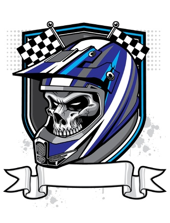 motorcycle racing: vector skull wearing trail helmet and banner