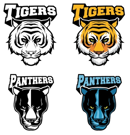 tigers: Tiger and panther head in vector